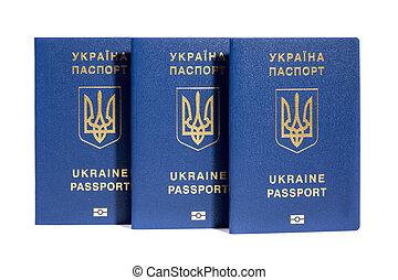 passaportes, branca, biometric, fundo, ukrainian