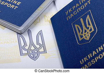 passaportes, close-up, ukrainian, biometric