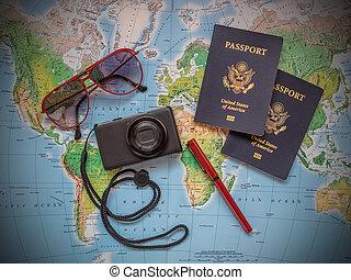 passaportes, férias, viagem, mapa
