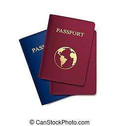passaportes, mapa, jogo, isolado, vetorial, fundo, branca