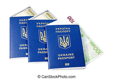 passaportes, notas, biometric, dinheiro, ukrainian