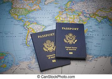 passaportes, para, viagem mundial