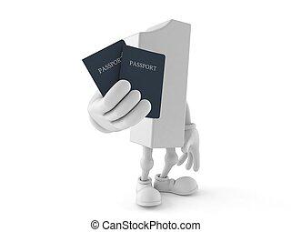 passaportes, segurando, um, personagem, número