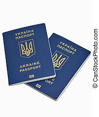 passaportes, ukrainian, isolado, fundo, branca, biometric