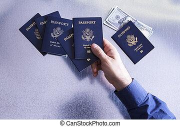 passaporti, controllo, smistamento, ci, uomo