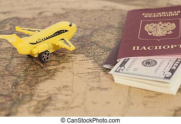 passaporti, mappa, dollari, aereo, internazionale, russo, mondo, modello