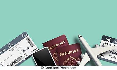 passaporti, viaggiare, vettore, fondo