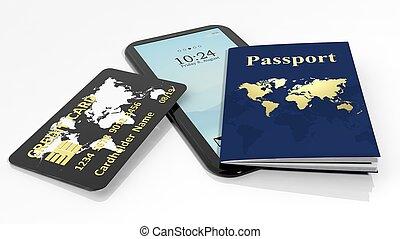 passaporto, carta credito, e, tablet/smartphone, isolato,...