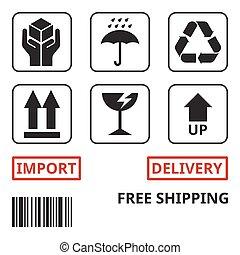 passar, símbolo, despacho, pacote