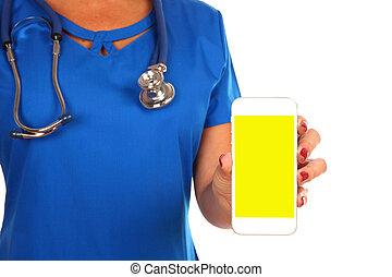 passar, smartphone, doutor, sobre, isolado, em branco, profissional, branca, vista