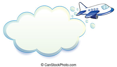 passare attraverso, aeroplano, nuvola