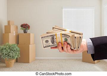 passare, stanza, sopra, scatole contanti, spostamento, fatto valigie