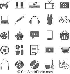 passatempo, ícones, branco, fundo