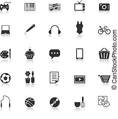 passatempo, ícones, com, reflita, fundo branco