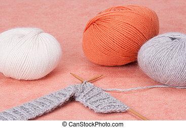 passatempo, arte, tricotando, acessórios, kit.