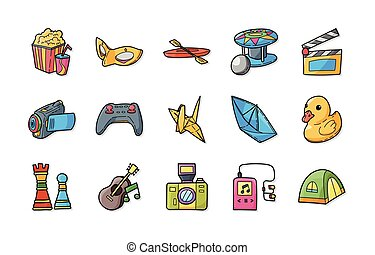 passatempo, jogo, lazer, ícones