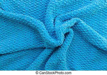 passatempo, xadrez, imagem, texture., experiência., theme., craft., pelúcia, feito à mão, feito, macio, woolen, yarn., azul, material., luminoso, tricotado