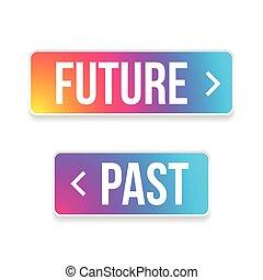 passato, bottone, futuro, set, freccia