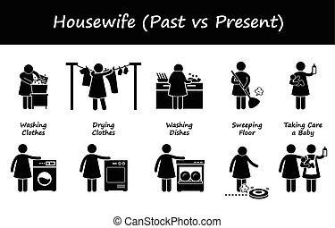 passato, contro, casalinga, presente