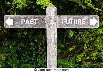 passato, contro, futuro, segni direzionali
