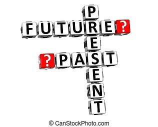 passato, cruciverba, futuro, presente, 3d