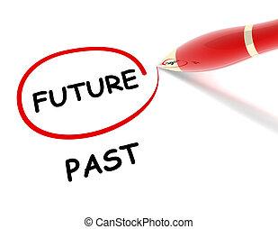 passato, futuro, concetto, illustrazione, 3d