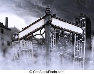 passato, futuro, frecce, città