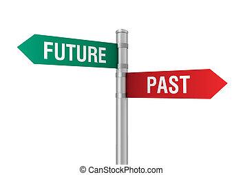 passato, futuro, segno strada