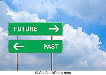 passato, futuro, verde, segno strada