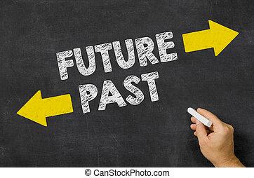 passato, lavagna, scritto, futuro, o