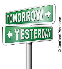 passato, o, futuro, domani, ieri