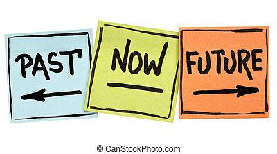 passato, presente, futuro, tempo, concetto, su, lavagna