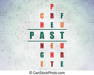 passato, timeline, puzzle, concept:, cruciverba