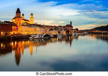 Passau at sunset, Germany