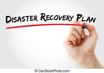 passe escrito, desastre, recuperação, plano