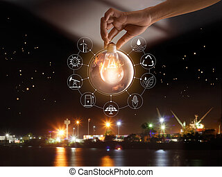 passe segurar, bulbo leve, frente, global, mostrar, a, mundo, consumo, com, ícones, energia, fontes, para, renovável, sustentável, development., ecologia, concept., elementos, de, este, imagem, fornecido, por, nasa.