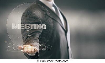 passe segurar, homem negócios, novo, tecnologias, reunião