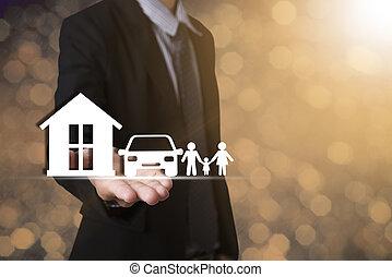 passe segurar, lar, car, family., conceito, garantia, saúde-cuidado, insurance.