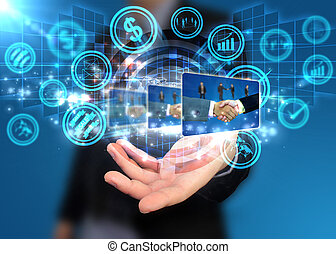 passe segurar, mundo digital, social, mídia, conceito