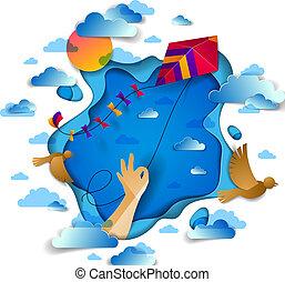 passe segurar, papagaio, sobre, céu nublado, pássaros voando, e, sol, liberdade, e, easiness, emocional, conceito, vetorial, modernos, estilo, papel, corte, 3d, illustration.