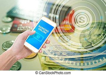 passe segurar, smartphone, com, móvel, operação bancária, aplicação, ligado, financeiro, gráfico, fundo