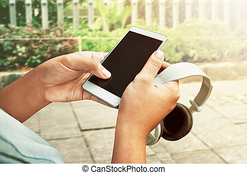 passe segurar, smartphone, e, fones