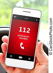 passe segurar, telefone móvel, 112, emergência, número