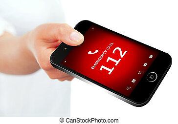 passe segurar, telefone móvel, com, emergência, número, 112