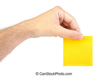 passe segurar, um, amarela, notepaper, ou, poste, isolado, ligado, um, fundo branco
