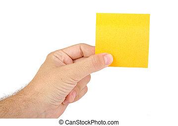 passe segurar, um, amarela, notepaper, ou, postit, isolado, ligado, um, fundo branco