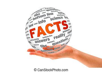 passe segurar, um, fatos, 3d, esfera