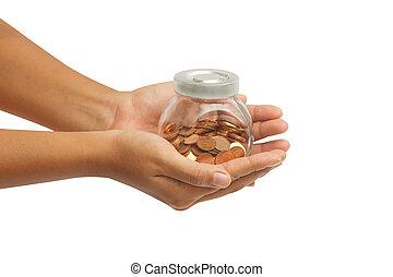 passe segurar, um, jarro, de, dinheiro, para, aposentadoria