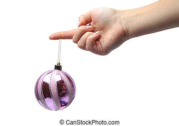 passe segurar, um, ornamento natal