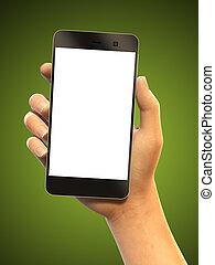 passe segurar, um, smartphone